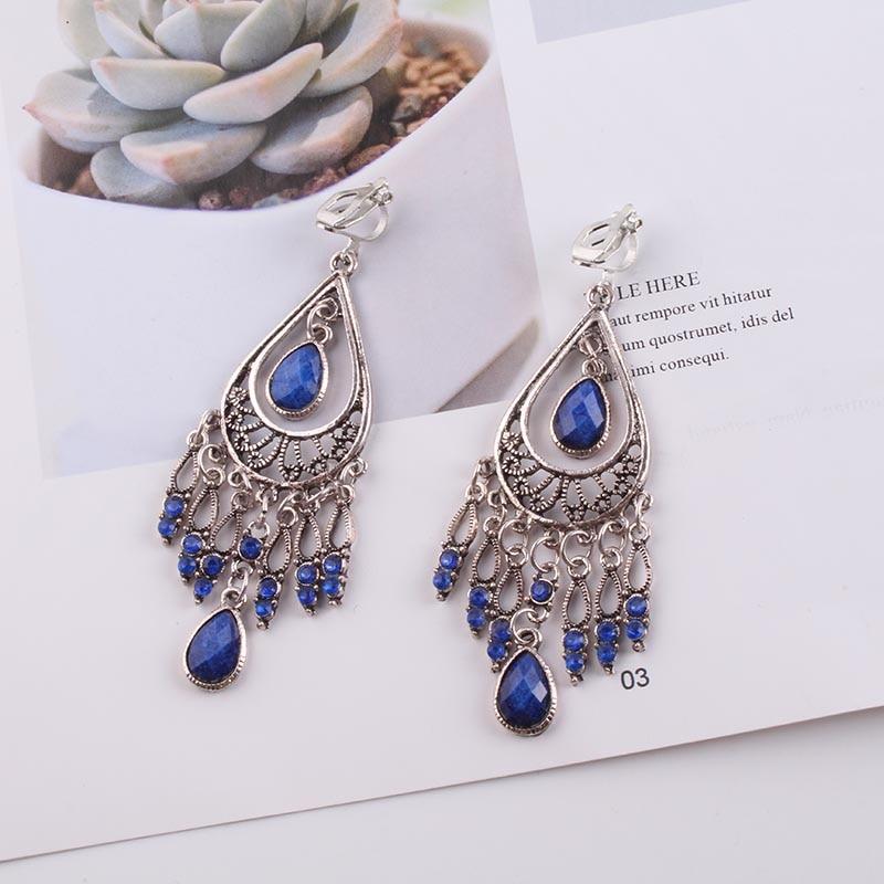 JIOFREE 2018 Fashion Jewelry Wholesale Vintage Bohemia clip on earrings non piercing earrings for women Statement Earrings(China)