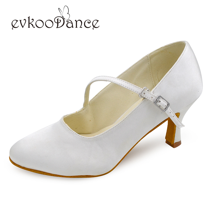 Ivory white Satin Heel Height 7 cm Zapatos De Baile Standard Ballroom Dancing font b Shoes