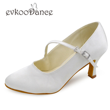 Ivory white Satin Heel Height 7 cm Zapatos De Baile Standard Ballroom Dancing Shoes Latin Salsa For Women NL125