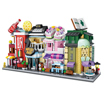 Funny City street view mini block cola cake shop Musical instrument store bookstore building brick educational toys for kid gift hello kitty mini block amusement park brick building blocks toys kid assembly diy children street city view educational 3d model