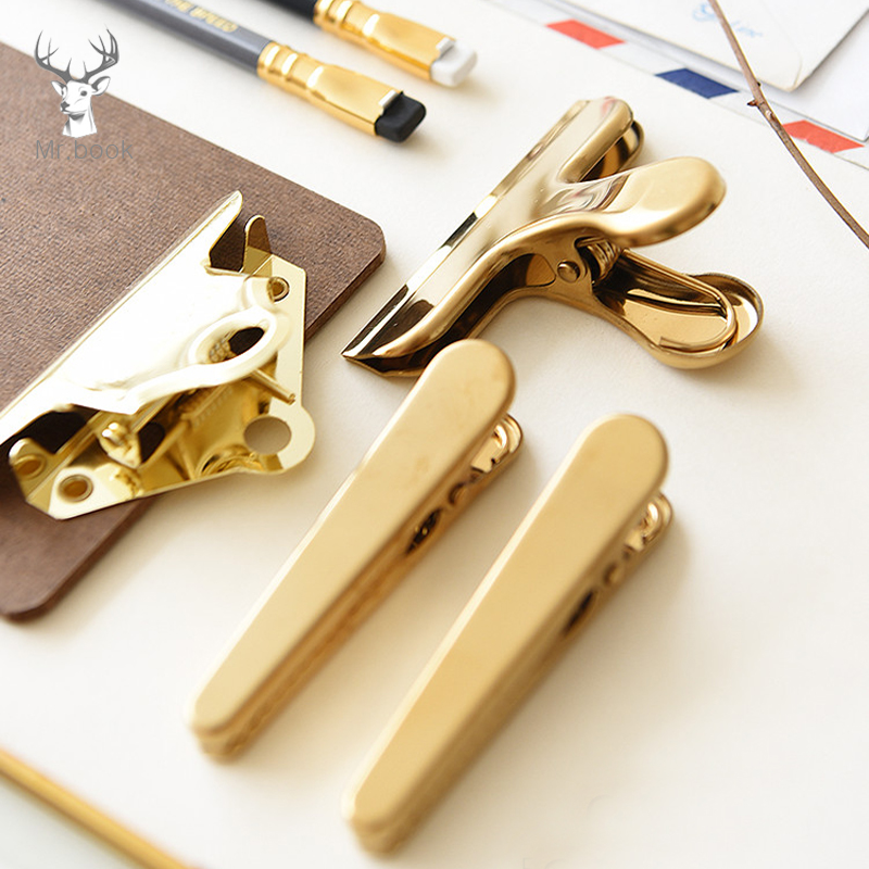 Nordic Style Metal Gold Binder Clip Office Paper Bills Stainless Steel Duckbill Clip Long Tail Clip Office & School Stationery