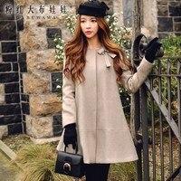 original overcoat women 2017 women's autumn winter loose waist fashion diamond collar woolen cute bow midi coat wholesale