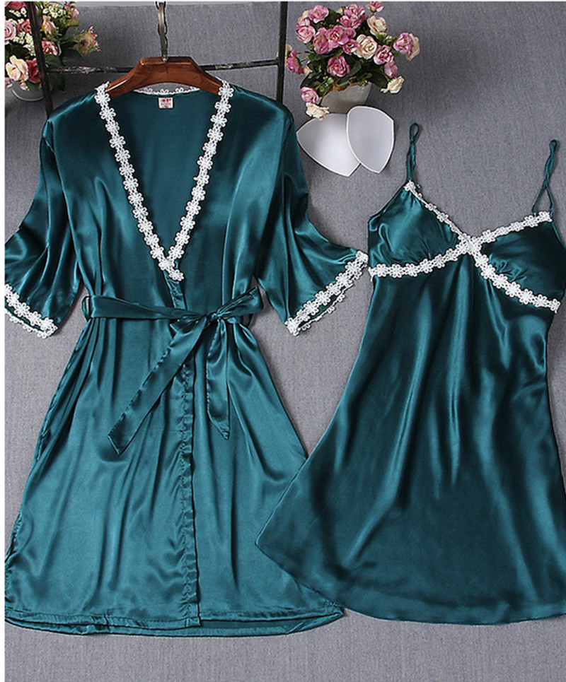 2 Pcs/Set Women Night Robes Bathrobe Pajamas Nightdress Nightgown Solid Silk Lace Sleepwear Summer Sexy Lingerie For Women