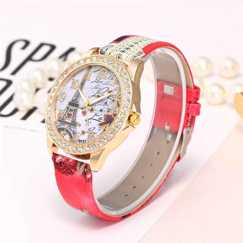 6c933cabc4e Fashion Vintage Paris Eiffel Tower Women Fashion Watch Crystal Leather  Quartz Wristwatch clock relogio feminino-in Women s Watches from Watches on  ...