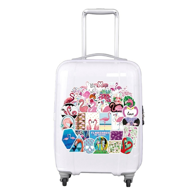 Pink Flamingos Stickers Set Decorative Stationery Stickers Scrapbooking Album Stick Lable Waterproof Suitcase Sticker 50Pcs/Set
