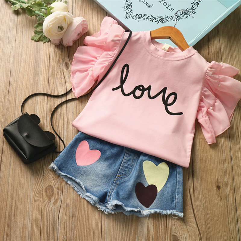 2019 girls summer suit pearl fly sleeve LOVE letters T shirt love heart denim shorts suit