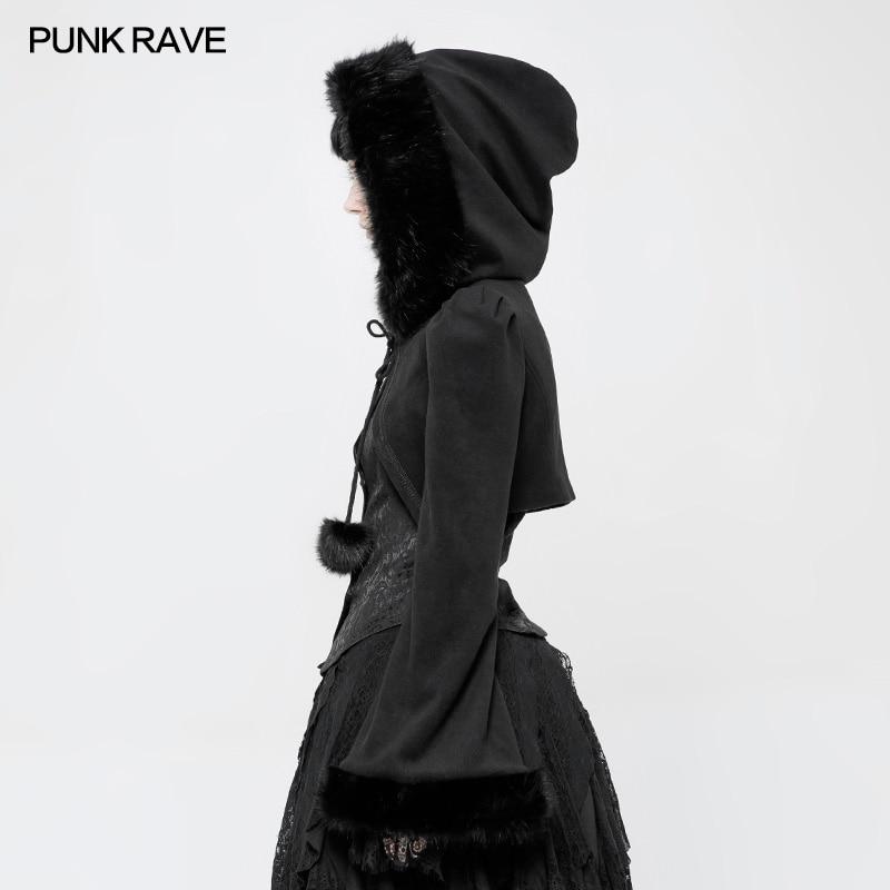 À Courts Capuche La Mode Femmes Style Victorienne Parti Cheveux Lapin Noir Gothique Manteau Rave Punk Lolita Veste Limitation axqHwqX7