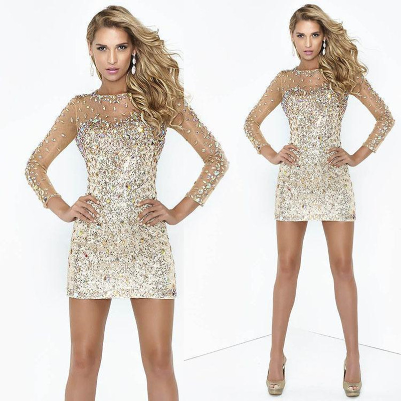 012c5c5ae82 2016 Sheath Rhinestone Beaded Party Cocktail Dresses Sexy Column Illusion  Long Sleeves Shining Short golden Prom Dress