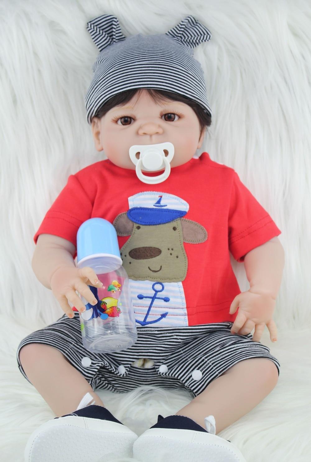 NPKCOLLECTION Volle Silikon Reborn Baby Puppe Spielzeug Lebensechte 55 cm Neugeborenen Jungen Babys Puppe Schöne Birt hday Gif t Für mädchen Baden Spielzeug