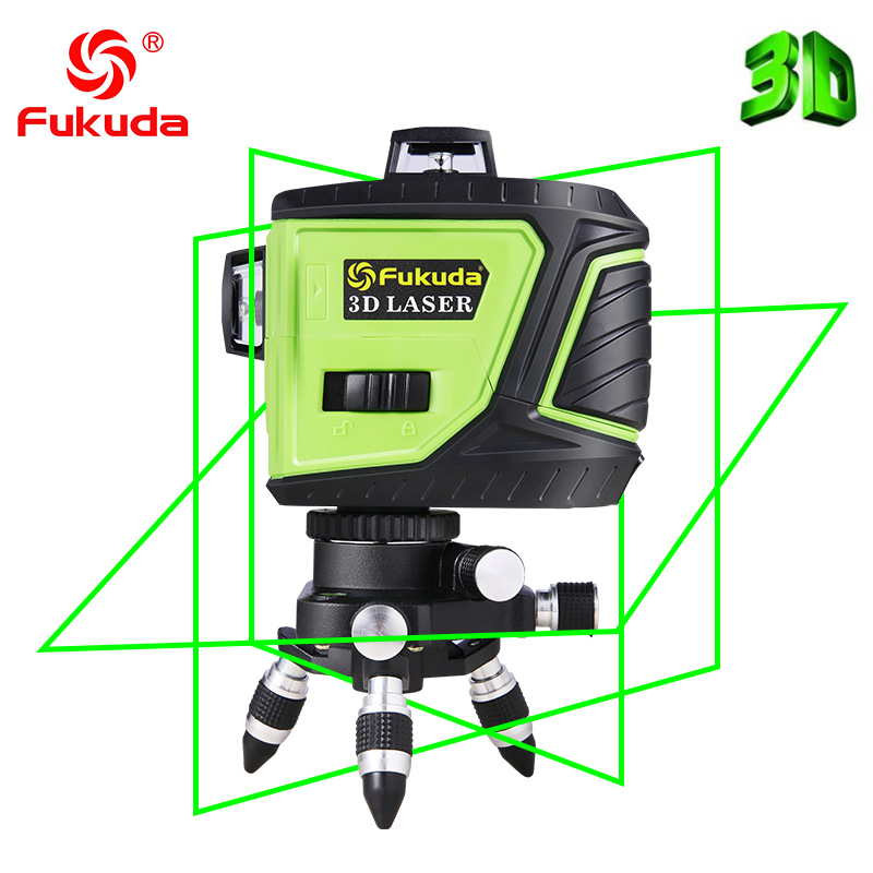 Фукуда бренд 12 линии 3D MW-93T лазерный уровень наливные 360 горизонтальный и вертикальный крест супер мощный зеленый лазер луч линии FUKUDA