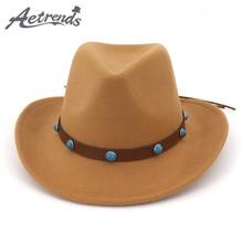 e450a82e3b0  AETRENDS  2019 New Arrival Western Cowboy Hats for Men Women Roll-up Wide  Brim Hat Woolen Felt Jazz Caps gorro mujer Z-6772