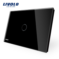 LIVOLO Touch Switch Livolo Black Crystal Glass Panel US Light Touch Screen Switch VL C901 12