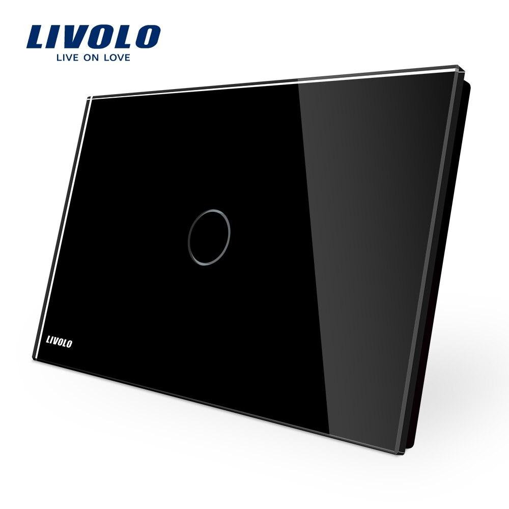 LIVOLO Touch-schalter, schwarz Kristallglas-verkleidung, AU/US Standard Licht Touchscreen Schalter VL-C901-12, AC110 ~ 250 V