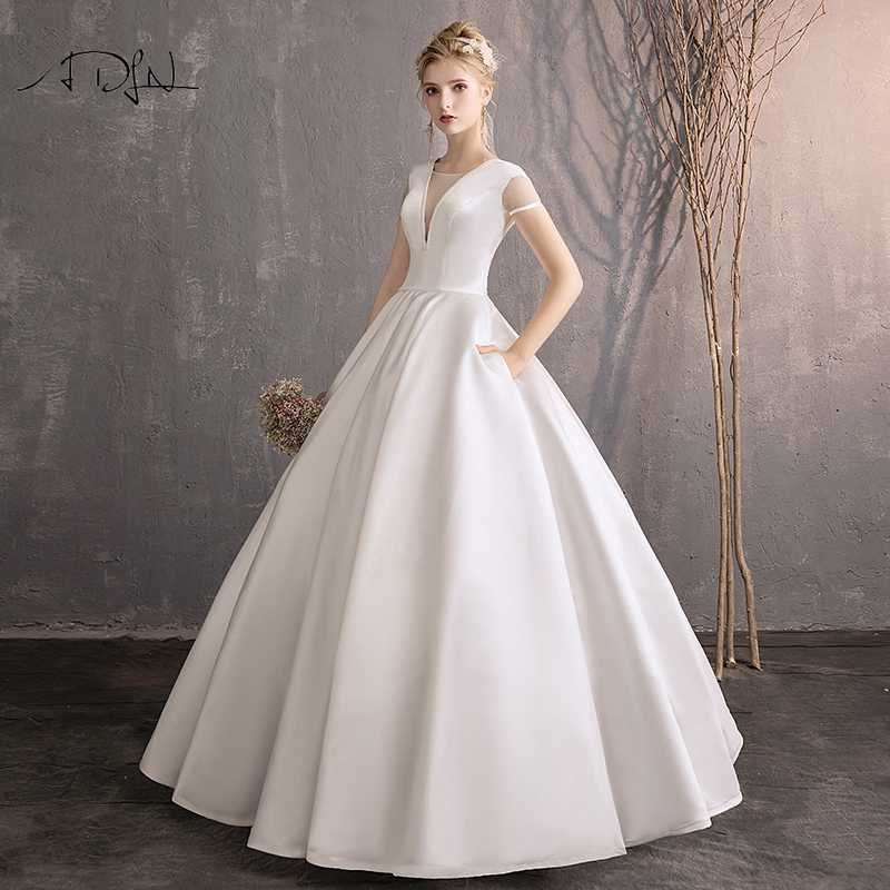 Wedding Dress With Sleeves.Adln Vintage White Ivory Satin A Line Wedding Dresses With Short Sleeves Custom Made Simple High Quality Bridal Gown With Pocket