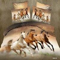 Hot 3d dier beddengoed set queen volledige twin size 3/pcs paard dekbedovertrek kussenslopen jongens bedclothes