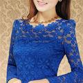 2014 новый женский топ Blusas Femininas свободного покроя с длинным рукавом кружева блузки цветочные рубашка свободного покроя женская одежда 9F3