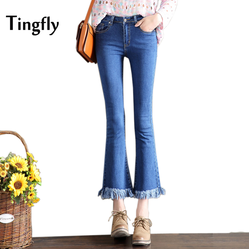 Tingfly Autumn Winter High Waist Flare Pants Jeans Plus Size Tassel Stretch Skinny Jeans Women Wide Leg Slim Hip Denim Boot Cuts