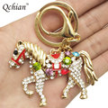 Metal Horse Keychain for Car Women Bags Multicolor Crystal Rhinestone Bag Pendant Key Holder Keyring Jewelry Alloy Free Shipping