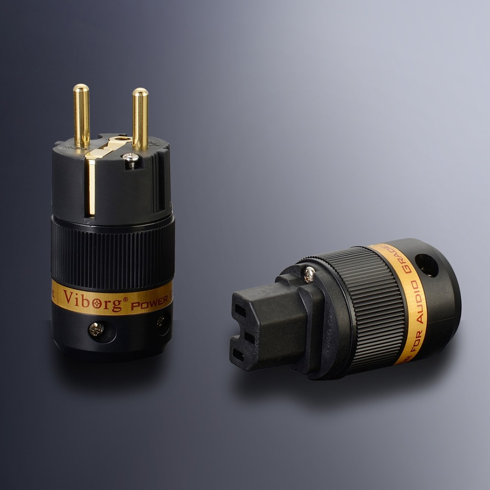 Free shipping one pair Viborg AC EU version 24K gold plated Power Plug IEC Connector with pure copper for audio power cable free shipping one pair sonar quest carbon fiber series eu gold plated power plug connector