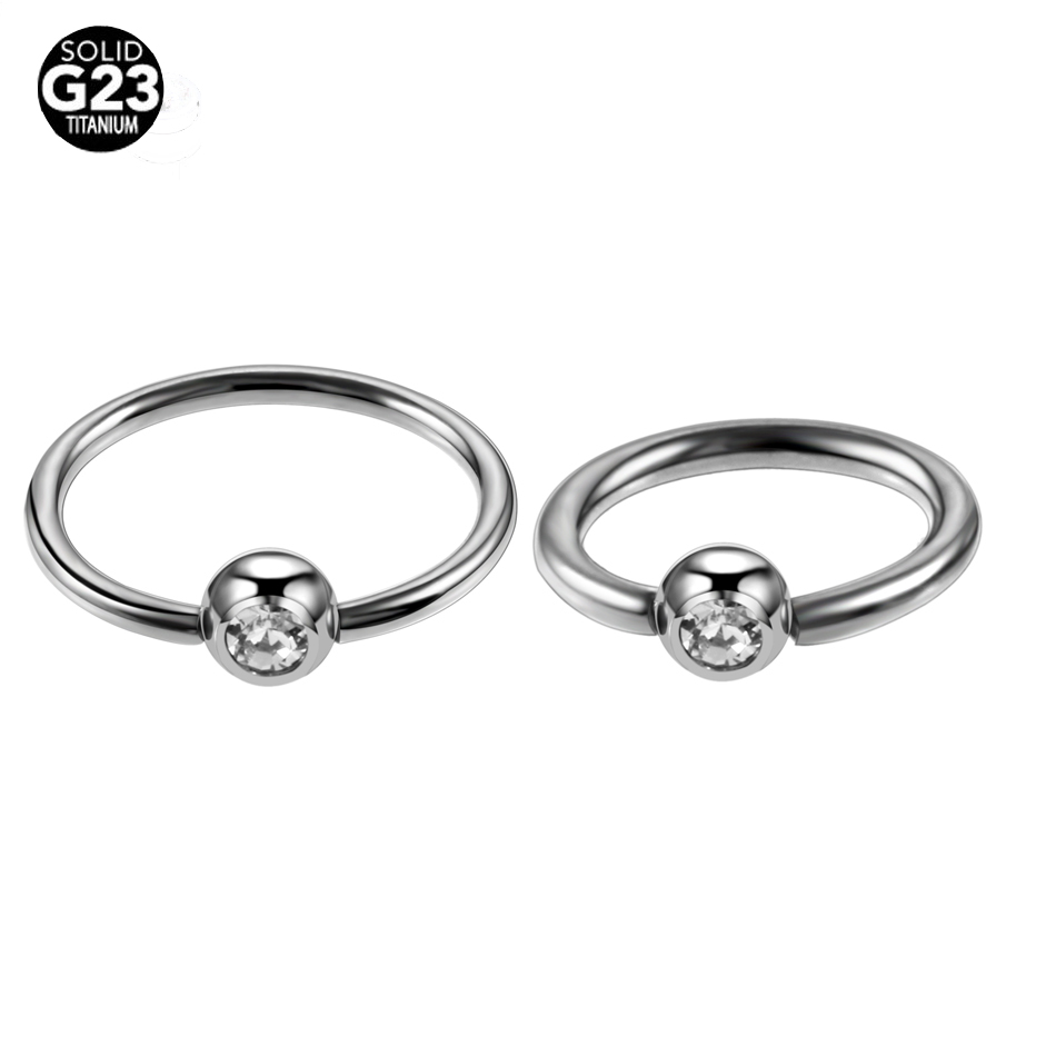 50pcs/lot G23 Titanium Captive Bead Rings CBR with Clip Gem Ball 