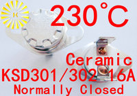 KSD302 16A 230 degree Ceramic 250V KSD301 Normally Closed Temperature Switch Thermostat x 100PCS