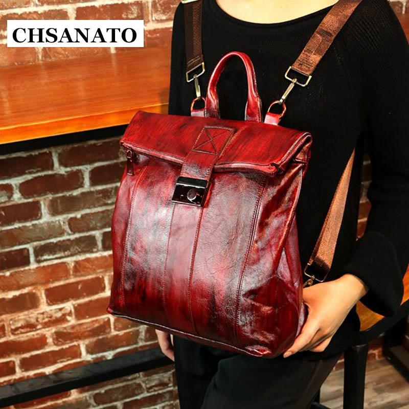 Chsanato New Stylish Anti Theft Backpack Women Genuine Leather Lady Cowhide Bagpack Travel School Mochila Bolsa