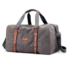 Men Travel Bags Canvas Leather Luggage Bags Travel Duffel Bag T729 Large Capacity Handbag Weekend Bag Overnight