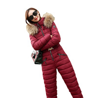 New 2019 Fashion Winter Parkas Down cotton Two piece set Siamese Suits Women Hooded Winter Jackets Thicken Outerwear Female G434