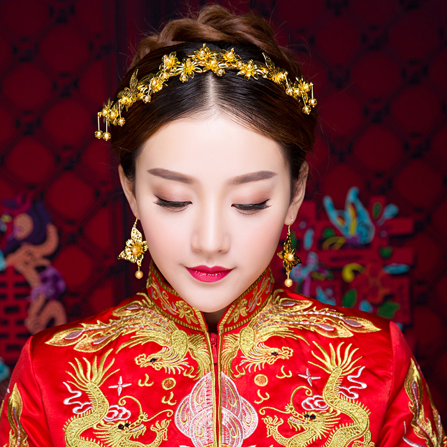New Traditional Chinese Wedding Hair Accessories Vintage Gold Color