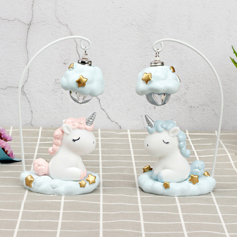 Cute Cartoon LED Night Light Home Decor Light Resin Unicorn Light Bedside Table Lamp For Baby Children Kids Girls Birthday Gift (3)