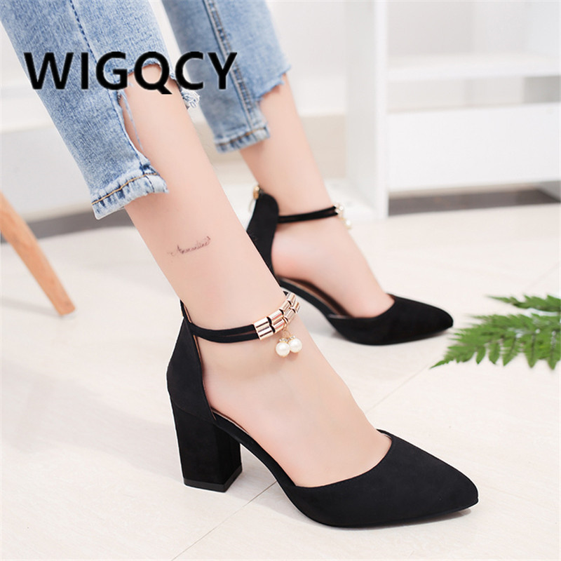 HOT Summer Square High Heels Flock Pointed Sandals Sexy Female Summer Sandalias  Shoes Mujer Zapatos Mujer Pumps 2019 Femeninas