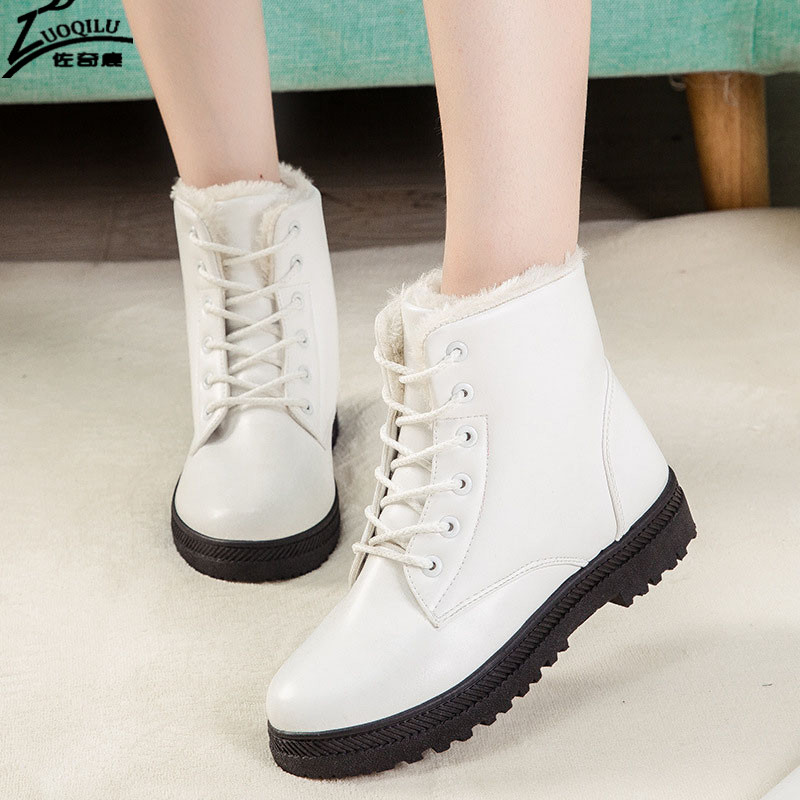 Women's Boots Winter Snow Shoes Woman 2017 Winter Ankle Boots For Women Flat Shoes Bota Feminina Black pu leather martins women boots snow boots military girls for casual walking shoes winter femme bota 2017 7687