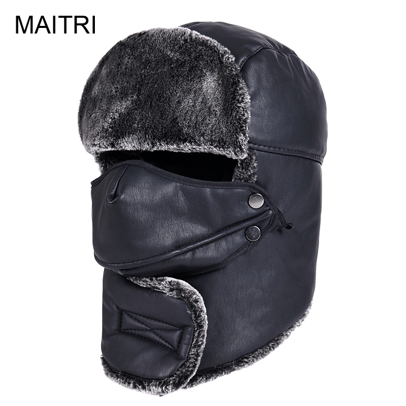 MAITRI 2019 New PU Leather Winter Hat For Men Women Fashion Windproof  Warmer Beanie Cap Czapka Zimowa Bonnet Femme Homme Gorros 70ce661d3bb