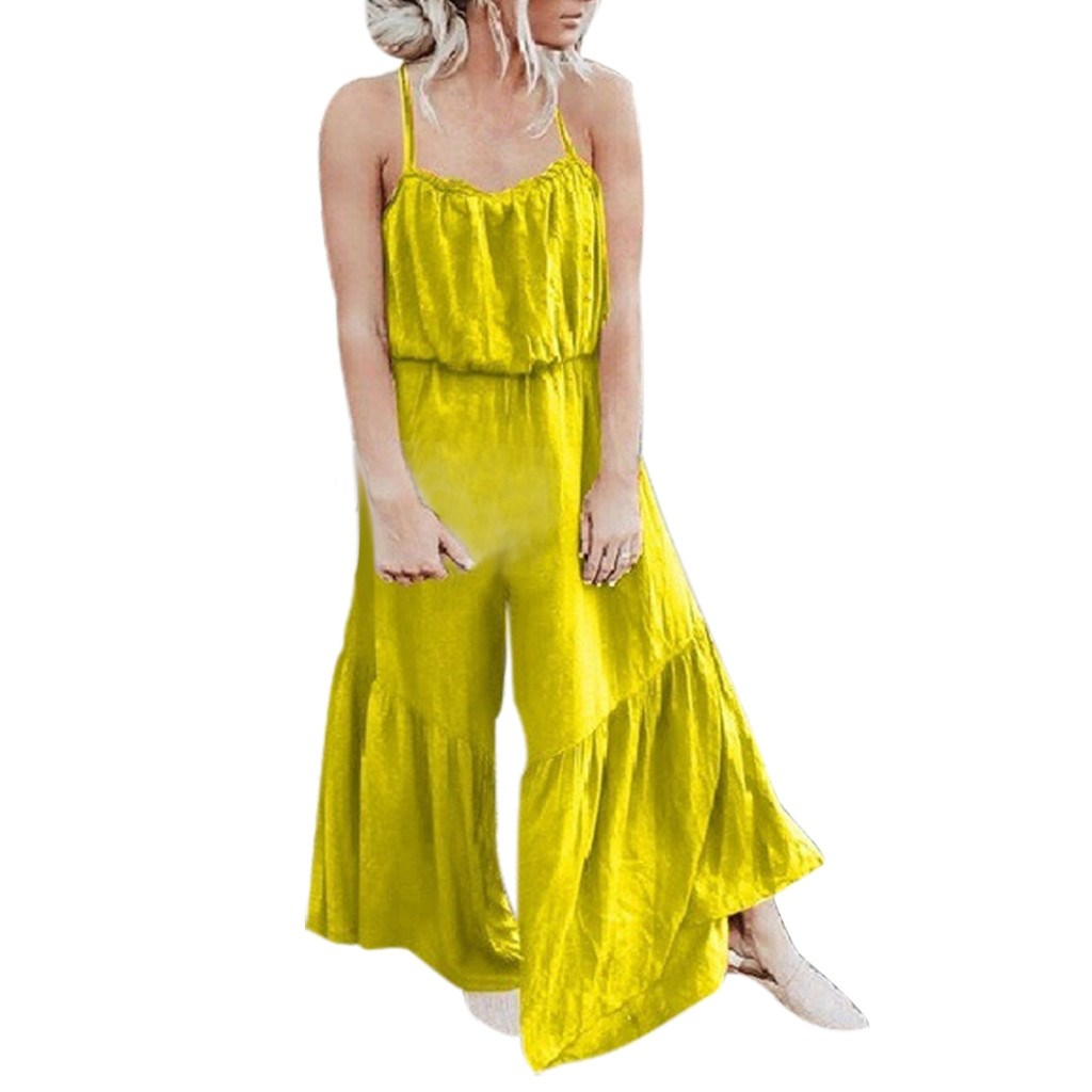 Loose Solid Plus Size Jumpsuits Casual Women Jumpsuit Sleeveless Strap Wide Leg Jumpsuit Ruffle Flare Sexy Overalls