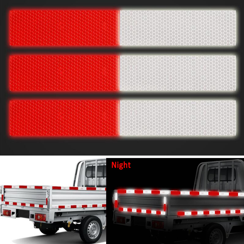 10PCS Red/White Reflective Truck Body Stickers For Car