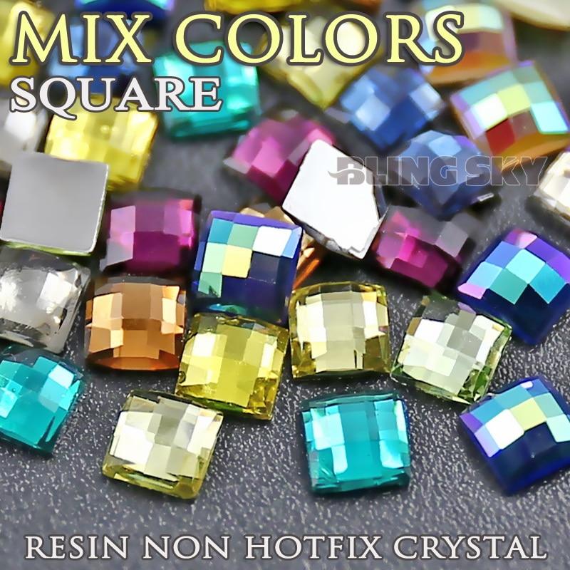 Змішати кольори нігтів кристали 3x3 4x4 6x6mm квадратних смоли стразами акрилові не виправлення плоских назад блискітки DIY ювелірні камені
