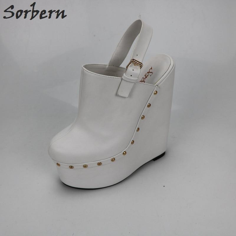 Sorbern Weiß Heels Verkeilt Pumps 20 Cm High Heels Frauen Pumpen Open Back Dicken Plattform Schuhe Damen Plattform Heels Fashions - 2