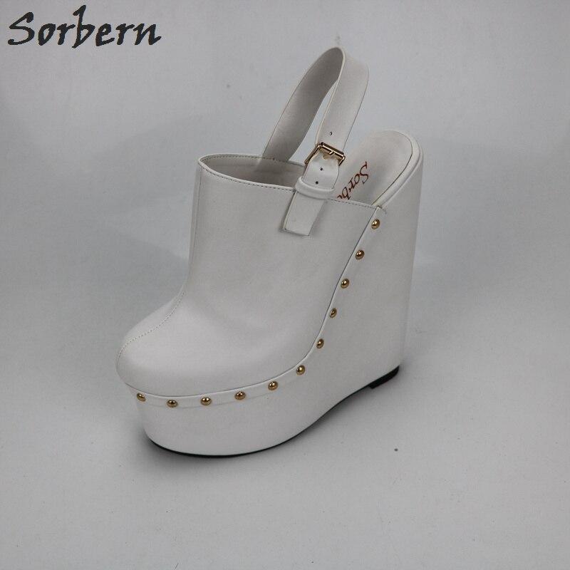 Sorbern blanc talons compensés Slingbacks 20 Cm talons hauts femmes pompes dos ouvert épais plate forme chaussures dames plate forme talons mode - 2