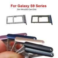 Dupla única bandeja sim para samsung galaxy s9 g960 g960f g960fd/s9 mais g965 g965f g965u titular slot bandeja de cartão sim peça de substituição