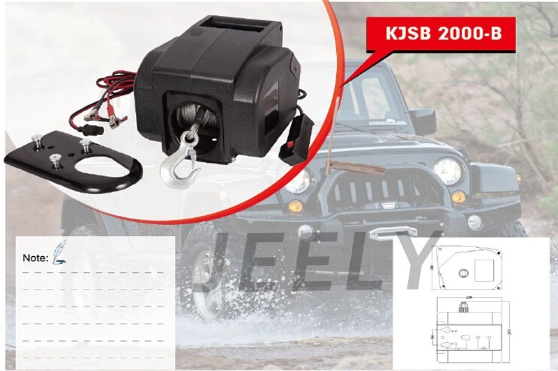 JEELY Yacht Winch,Boat winch,Barge winch 12V <font><b>2000lb</b></font> ELECTRIC WINCH image