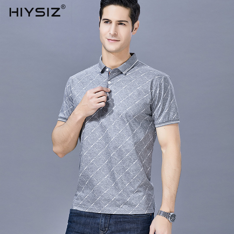HIYSIZ 2019 New Summer Streetwear Style 100 cotton ArgyleT shirt casual Stand Men T shirt High quality short sleeve Tshirt ST165 in T Shirts from Men 39 s Clothing