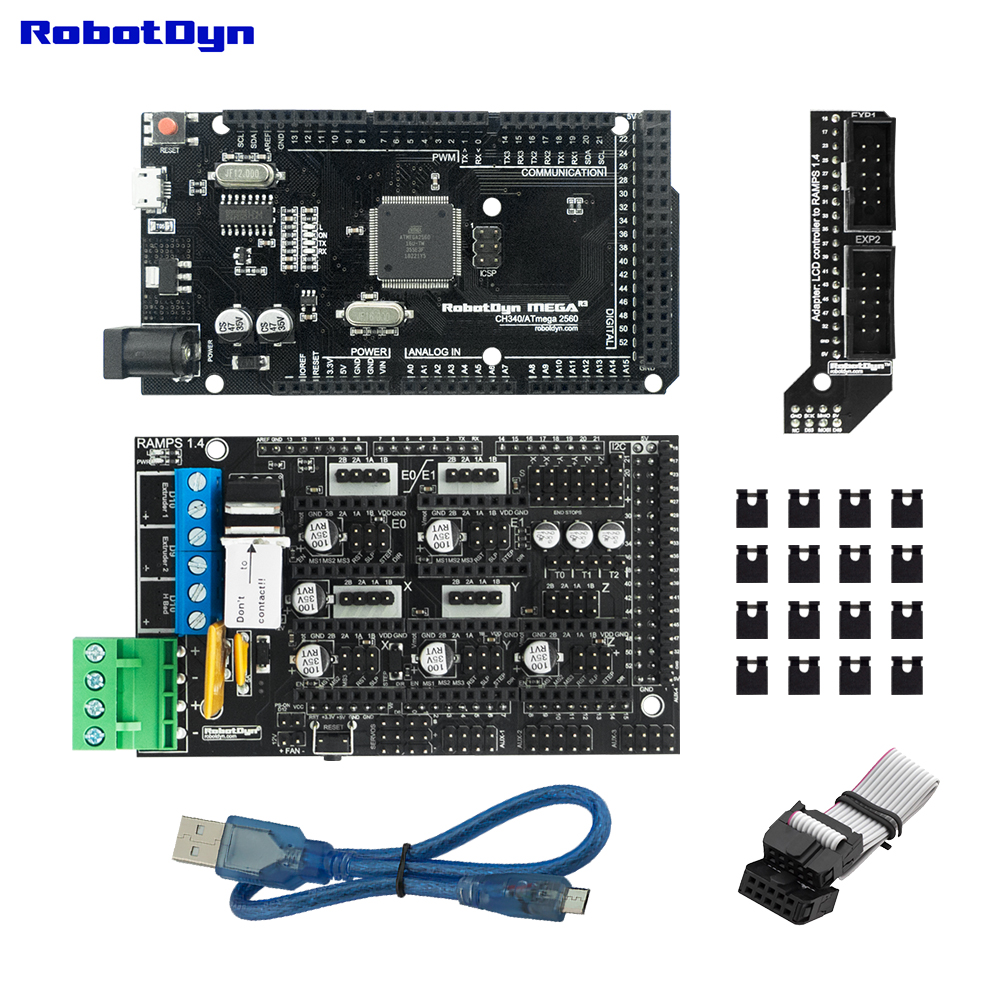 3D Printer & CNC Basic KIT. MEGA 2560 R3 + RAMPS 1.4 + Adapter+ MicroUSB Cable (50cm) Compatible For Arduino And RepRap Projects