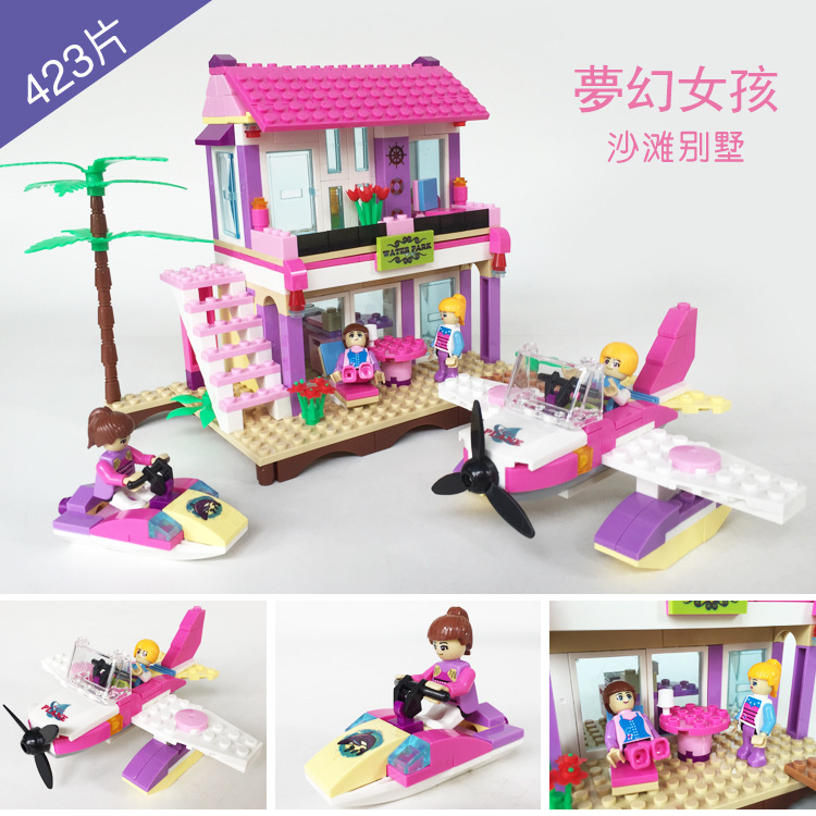 COGO friends Series 14515 Beach Villa 423 pcs Building Block Sets for Girls DIY Bricks baby Toys стоимость