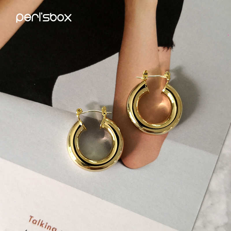 Peri'sbox 24 Mm Emas Tebal Hoop Anting-Anting untuk Wanita Kuningan Medium Polos Anting-Anting Bulat Open Lingkaran Anting-Anting Ringan