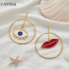 Canner Red Lip Evil Eye Gold Loop Drop Earrings Punk Geometric Asymmetric Statement For Women Jewelry Gift