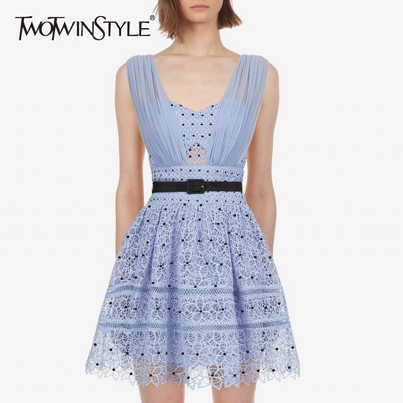 TWOTWINSTYLE Summer Hollow Out Polka Dot Women Dress V Neck Sleeve High Waist Slim Mini Dresses