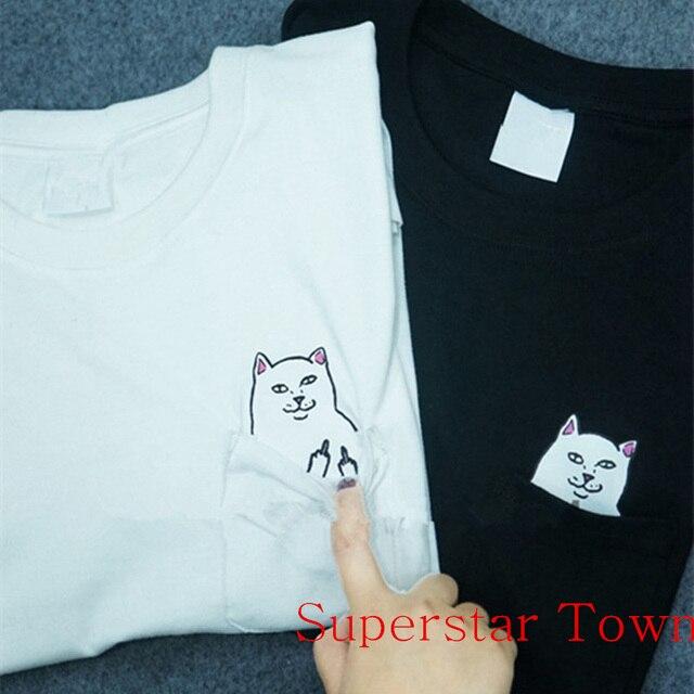 Mulheres camisetas Neko atsume camisa casual camisa das mulheres t 2016  verão estilo cool dedo médio 640cc45584c2e