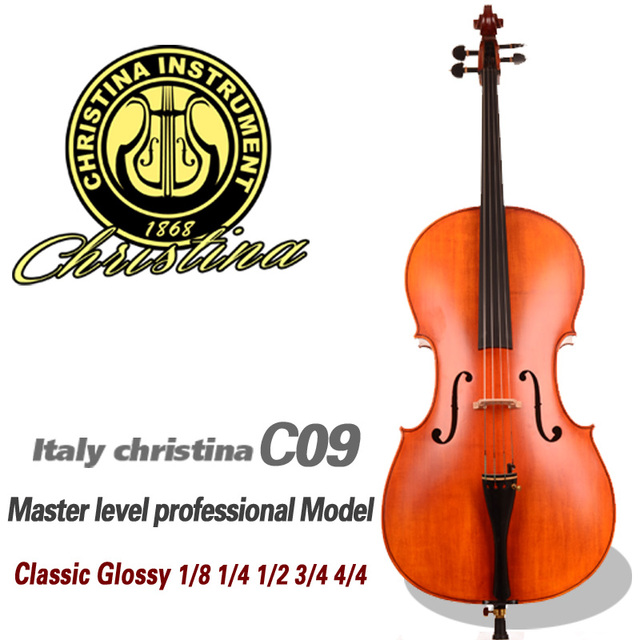 Cheap Professional Master level Cello Christina C09 4/4 3/4 size Advanced 30 years Spruce Fine flamed Maple cello with bow,case, rosin