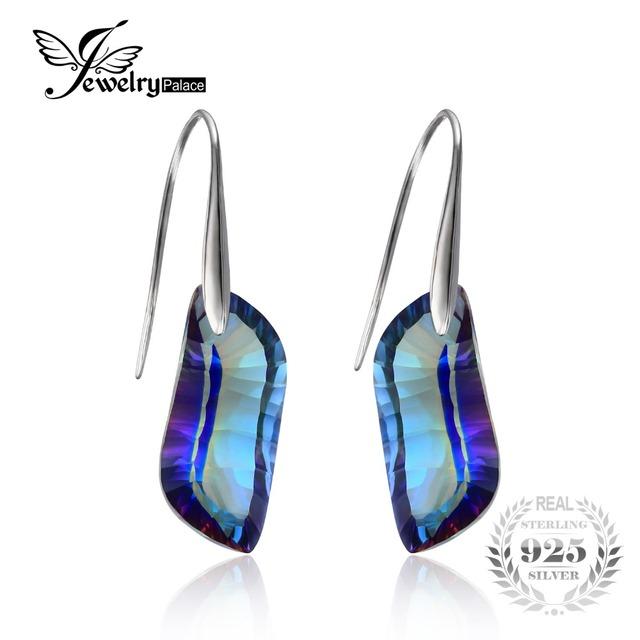 Jewelrypalace 23ct místico azul arco iris topazs pendientes earring 925 envío de plata esterlina impresionante accesorios estrenar regalo