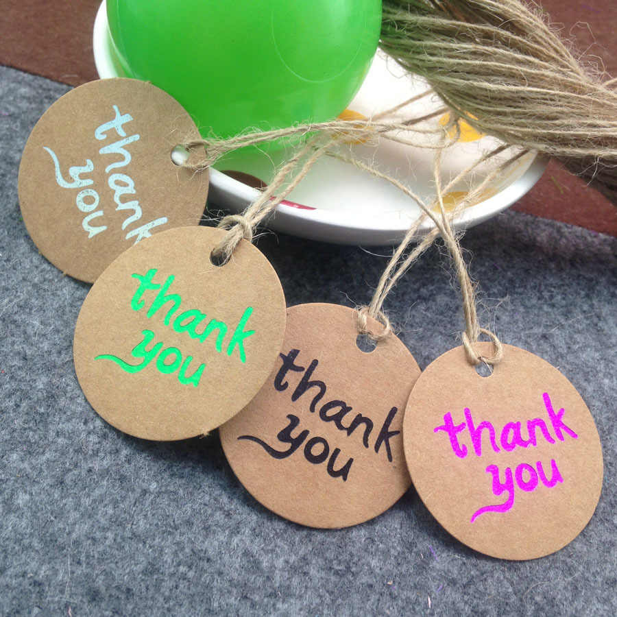40mm Diameter New Brown Kraft Paper Thank You  Tags  Black Thank You Wedding Note +String DIY Blank price Hang tag Kraft Gift